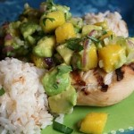 Island Chicken with Avocado/Mango Salsa and Coconut Rice