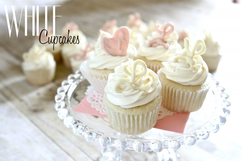 White cupcakes for a virtual baby shower for Cupcake recipes for baby shower girl