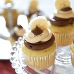 banana cupcakes with chocolate and peanut butter frosting